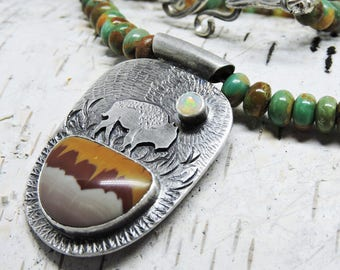 Turquoise Necklace, Buffalo, Bison Necklace, Art Jewelry, Sterling Silver, Jasper, Opal, American Turquoise, Two-sided, Buffalo Medicine
