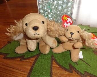 RARE! Retired Ty Beanie Babies Matched Dog Set Spunky w/Teenie Spunky