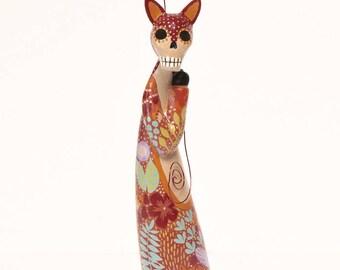 Dia de los Muertos Red Fox Spirit Skeleton Art Doll