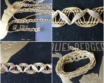 """Vintage 66"""" Semi rigid See Through Lacely Look Gold Ribbon 1920s/ Necklace"""