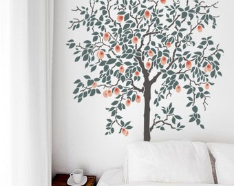 New! Fruit TREE - Stencil for Walls - Large - 6 FEET Tall - Reusable and Reversible stencil for DIY home decor Wall Art