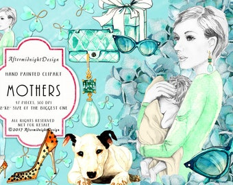 Mothers Clipart, Young Mothers Clipart Watercolor Fashion Illustrations Baby Dog Handbag Sunglasses Shoes Earrings Planner Supplies