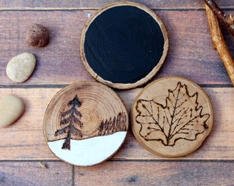 Set 3 magnets wood forest snow