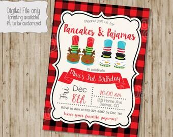 Christmas Birthday Invitation, Pancakes and Pajamas Birthday Invitation, Winter Birthday Party, Christmas Party, Christmas Invitation, PJs