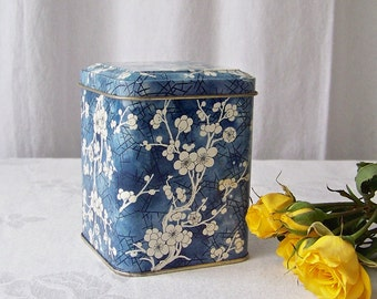 Vintage Kitchen Tin by Daher Blue Cherry Blossom Tin Blue and White Candy Tin Made in England Vintage 1970s