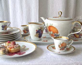 Vintage Tea Service Luncheon Set by Jaeger Co. for  E&R Co. Imports Golden Crown Logo Vintage 1950s