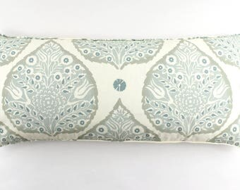 Galbraith & Paul Lotus Pillows (shown in in Mineral on Cream with Self Welting and Ivory Linen Back (16 X 36)