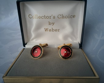 Vintage Cufflinks Red, Black and Gold, Weber Collector's Edition, Cuff Links