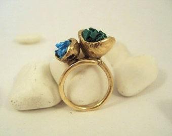 Bronze Ring- Turquoise Malachite Stones- Adjustable Ring- Free Shipping Worldwide