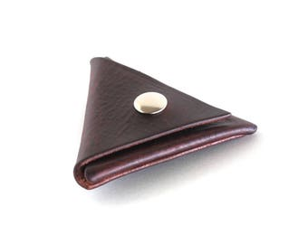Full Grain Leather Triangle Coin Pouch,Coin Purse,Coin Holder,Snap Purse,Coin Wallet,Men Coin Purse,Brown Leather Small Pouch