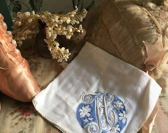Vintage Hankie Monogram Initial Letter H On White Embroidered Madeira Blue