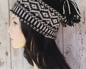 Black and White Icelandic Style Patterned Wool Hat