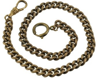 """Antique Victorian GF Gold Filled Lattice Etched Watch Chain Fob Holder 12"""""""