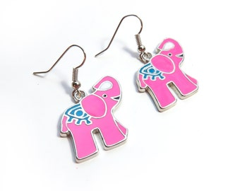 Hot Pink Elephant Dangle Earrings