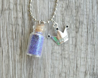 SOFIA the First Inspired Vial Necklace 22x11mm Cork Glass Bottle Glitter Disney