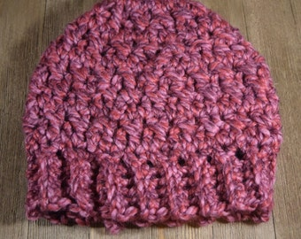Crochet Messy Bun / Ponytail Hat ~ Wild Strawberry Pink