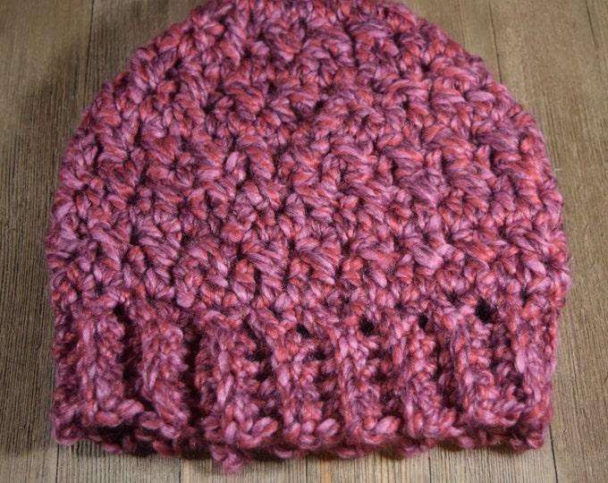 Crochet Messy Bun / Ponytail Hat ~ Wild Strawberry Pink