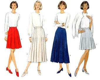 Fast Easy Front Pleated A-line Above Mid-Knee Skirt Sewing Pattern UNCUt Vintage 90s Size 6-10 Bust 30.5-32.5 (78-83 cm) Butterick 4212 G
