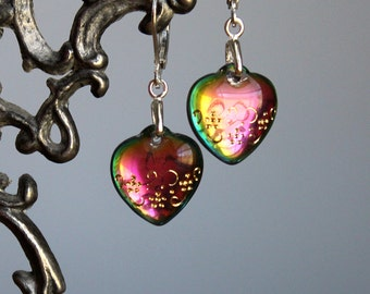 I Love You Like A Rainbow Earrings - Vintage Glass Hearts - Sterling Silver Leverbacks