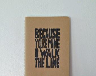 Vow booklet, Wedding vow book, Johnny Cash wedding vows, Wedding keepsake, Moleskine notebook, I walk the line, Romantic gifts, Song lyrics