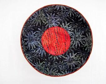 Blue Batik Garden fabric bowl navy orange
