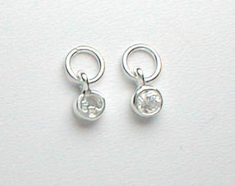 Nail Dangle One CZ in Sterling Silver Setting 4mm Tiny