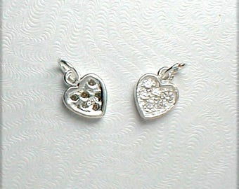Nail Dangle Small 5mm Heart in Sterling Silver with CZ'S - Very Sparkly