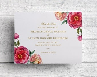 Watercolor Floral Wedding Save the Date, Outdoor Wedding Save the Dates, Pink Wedding, Pink and Gold, Wedding Invitation, PRINTED