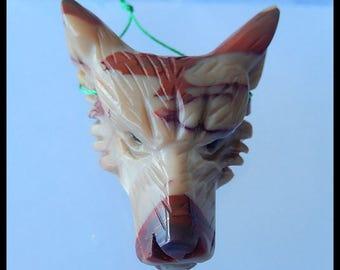 Hot Fashion! Carved Wolf  Head Mookite Jasper Pendant Bead,51x41x18mm,29.8g(b0631)