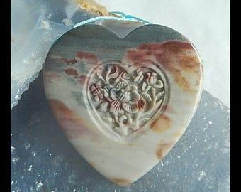 Carved Wave Jasper Gemstone Flower Pendant Bead,45x10mm,33.9g(e0776)