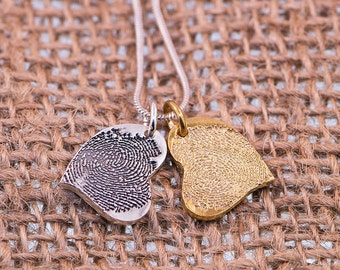 Silver & Gold Hearts Fingerprints Charms.