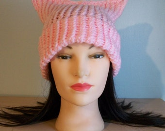 Light Pink Pussycat Hat Crochet Knit Stocking Cap Ready to Ship