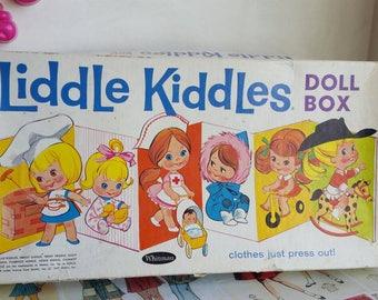 Vintage 1960s Liddle Kiddles Doll Box Paper Dolls dress up job lot