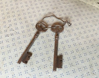 Vintage Key Collection, skeleton keys, French home decor, gift for him, husband gift, steampunk key, industrial decor, wedding gifts