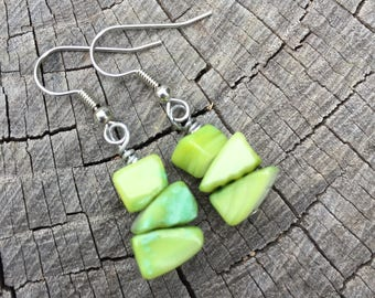 Light Green Mother of Pearl Shells . Earrings