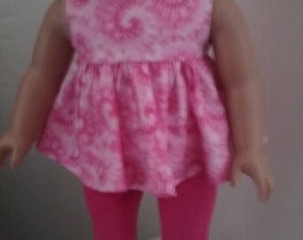 Pink tie die top , pants and sandels for american girl 18 inch doll,My-Life,Our Generation,Springfield dolls