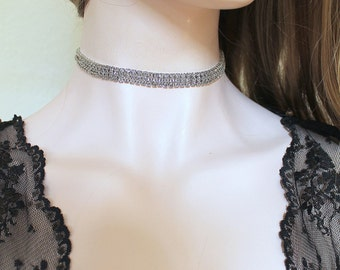 Silver Rhinestone Diamond Choker. Austrian Crystal Encrusted 3 Row Choker Necklace. Silver Glamour Sparkly Collar Jewelry.