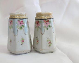 Vintage Hand Painted Porcelain Salt and Pepper Shakers