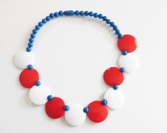 Patriotic Necklace Vintage Beaded Patriotic Necklace Red White Blue Vintage Plastic Jewelry July 4th