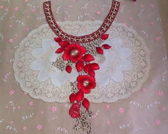 3pcs 29x47x14cm(depth)cm red gold peony clothes embroidered collar appliques patches ONSISIFO free ship