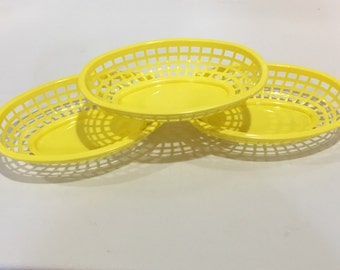 Yellow Food Baskets, Food Tray, Heavyweight Party Baskets, Use for Party, Picnic, BBQ, Events