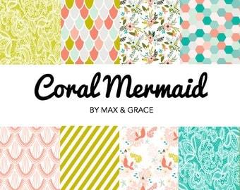 Coral Mermaid Bedding. Baby Bedding. Crib Skirt. Crib Sheet. Mermaid Nursery Decor. Teal Mermaid Bedding. Girl Crib Bedding. Seashore Decor.