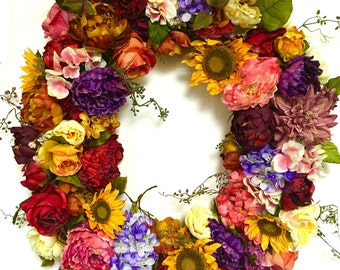 "Fall Wreath Sunflower Mix Oval All Season Summer Spring Garden Mix XXL 27""x32"" Indoor Outdoor Multicolor"