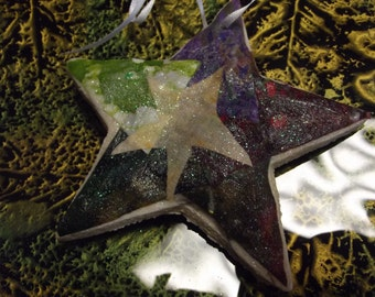 Star shaped salt dough Christmas Ornament - decoupaged with fabric to look quilted - large star ornament