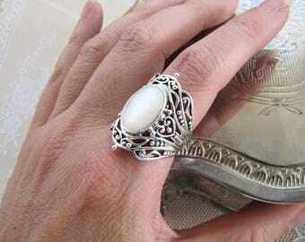 Tribal Mother of Pearl Sterling Silver Ring, Size 8.25