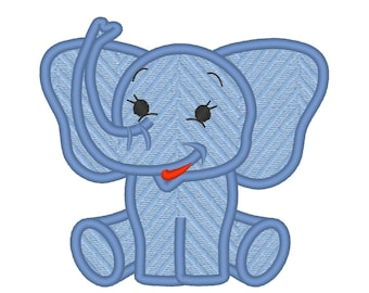 Baby elephant applique machine embroidery applique design - little elephant -  - 3, 4, 5 and 6 inches