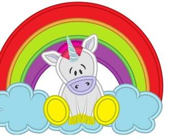 Rainbow applique  - machine embroidery designs applique Rainbow unicorn embroidery - Rainbow unicorn with rainbow  INSTANT DOWNLOAD