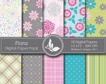 40% off Flora Paper Pack - 10 Digital papers - 12 x12 - 300 DPI