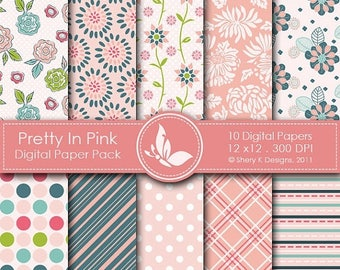 40% off Pretty In Pink Paper Pack - 10 Printable Digital papers - 12 x12 - 300 DPI