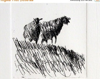 Two sheep in a meadow,  Original Etching, drypoint